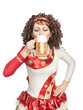Irish dancer drinking beer