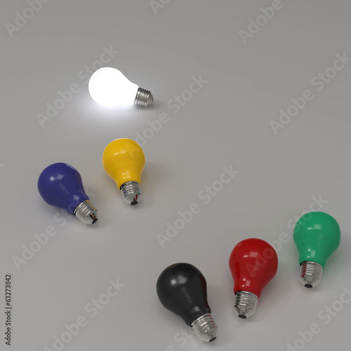 3d growing light bulb standing out from the unlit incandescent b