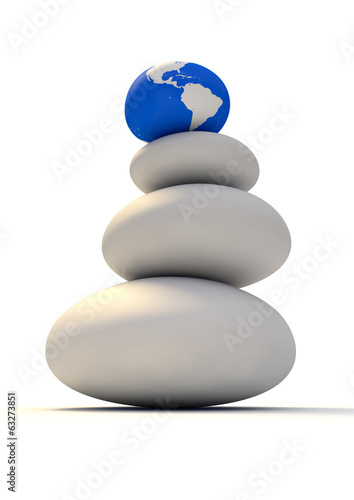 Zen Stones With World Globe