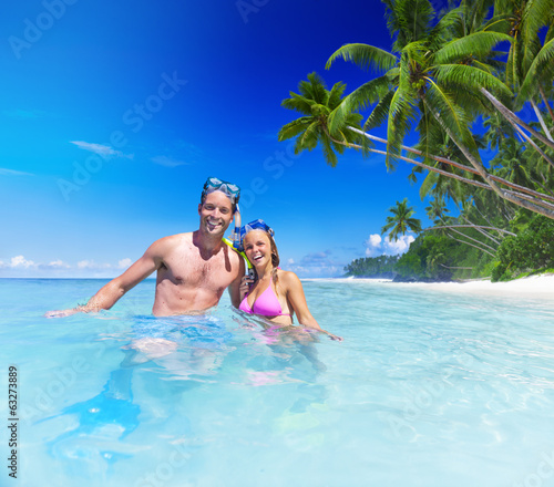 Couple with Scuba Gear in Paradise