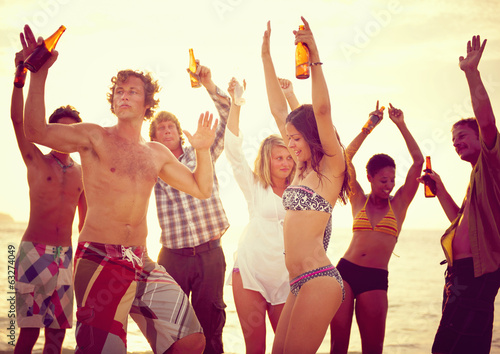 Group of People Partying in the Beach