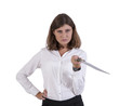 Serious businesswoman posing with a sword
