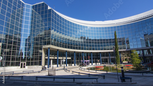 MADRID, SPAIN OCT 15: Modern building with glass architecture on