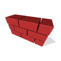 Brick Wall Icon 3D on White Background. Vector