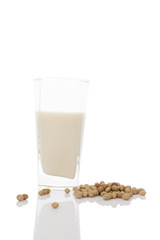 Glass of organic soya milk.