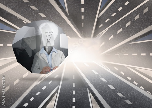 Composite image of light bulb man on abstract screen