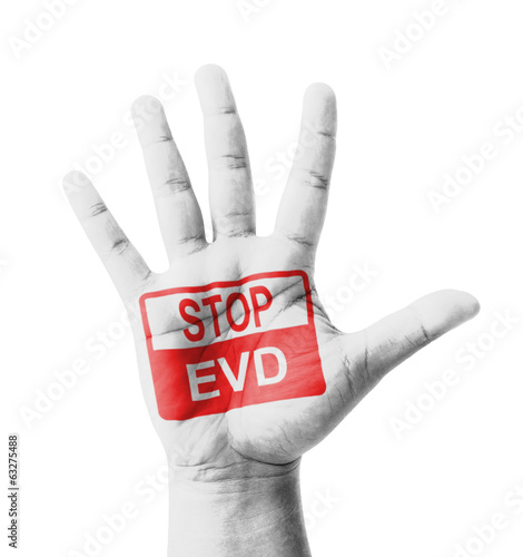 Open hand raised, Stop EVD (Ebola virus disease) sign painted