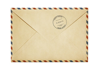 old paper air post mail envelope isolated on white