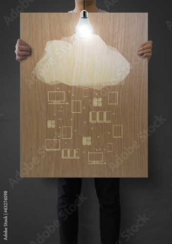 man showing poster of graphic cluod network diagram on wooden bo