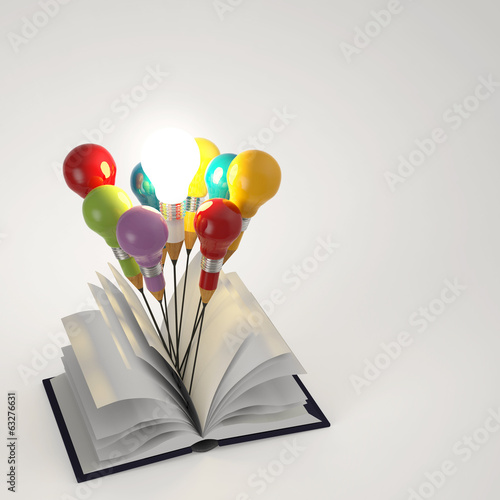 open book with pencil lightbulb 3d as concept