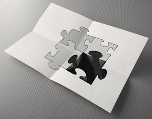 Hand drawing Partnership Puzzle on crumpled paper as concept