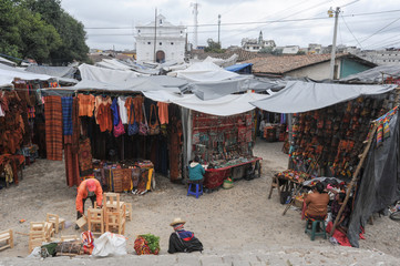 Market near the Church of Santo Tomas at Chichicastenango