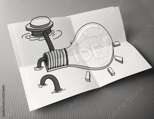 hand drawn light bulb with IDEA word on crumpled paper poster as