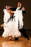 Professional ballroom dance couple preform an exhibition dance poster