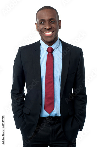 Smiling modern african businessman
