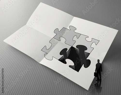Hand drawn Partnership Puzzle and businessman icon on crumpled p