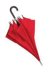 Closed red umbrella over white
