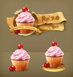 Cherry cupcake, retro vector icon