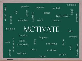 Motivate Word Cloud Concept on a Blackboard