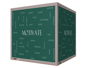 Motivate Word Cloud Concept on a 3D cube Blackboard
