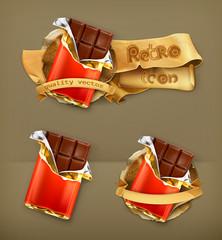 Chocolate, retro vector icon
