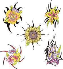 Set of tribal flower tattoos