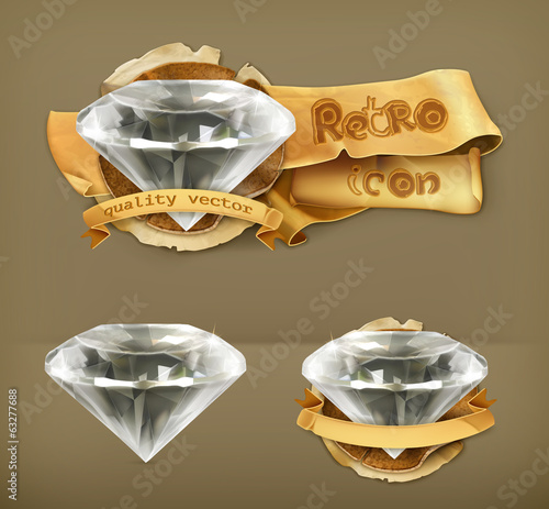 Diamond retro vector icon