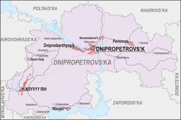 Map of Dnipropetrovsk Oblast
