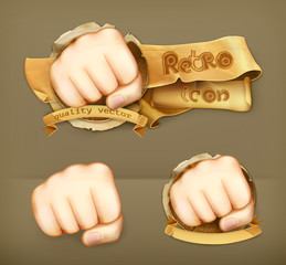 Fist, retro vector icon