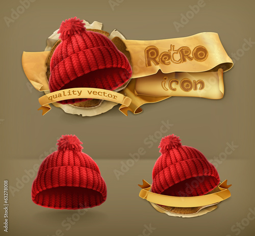 Knitted red cap, retro vector icon
