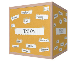 Pension 3D cube Corkboard Word Concept