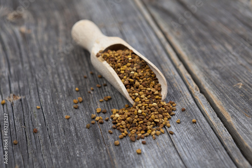 Healthy bee pollen on  background