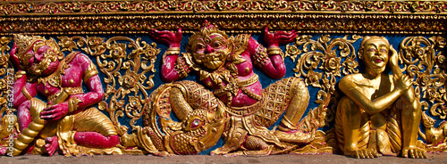 carving art in a thai temple