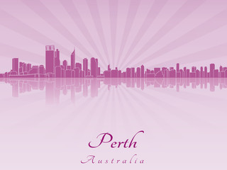 Perth skyline in purple radiant orchid