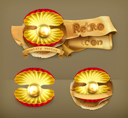 Pearl gold, retro vector icon