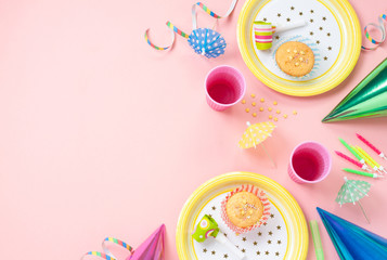 Girl birthday decorations on pink table