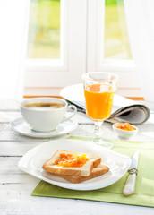 Continental breakfast - coffee, orange juice, toast