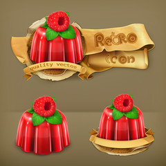 Raspberry jelly, retro vector icon