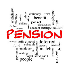 Pension Word Cloud Concept in red caps