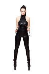 Sexy woman in latex catsuit and whip