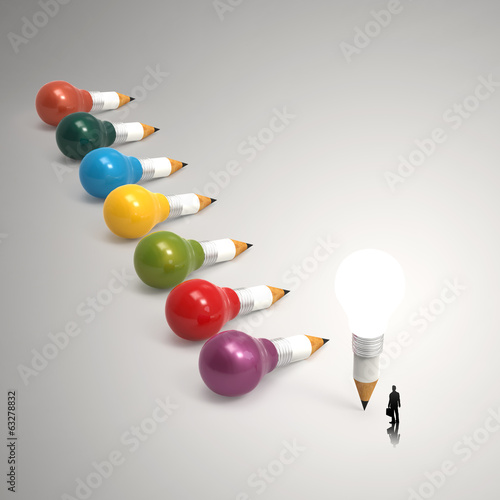 drawing idea pencil and light bulb 3d concept creative and leade