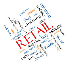 Retail Word Cloud Concept Angled