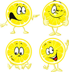 lemon cartoon - funny illustration isolated on white background