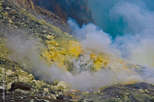 Open-cast sulfur mine, general view at Kawah Ijien volcano on Ja