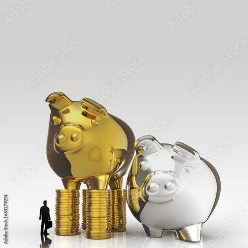 businessman looking at 3d piggy bank standing on coins