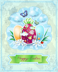 Easter card with eggs, in vintage style