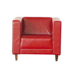 Elegant red leather armchair isolated on white background