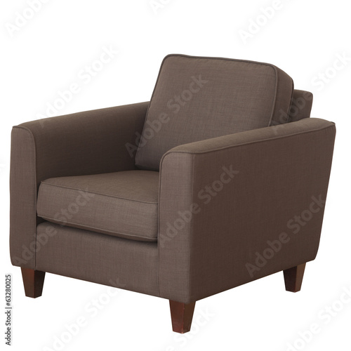 Elegant armchair of brown fabric isolated on white background