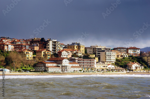 Getxo beach with residential houses
