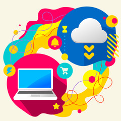 Laptop and cloud on abstract colorful splashes background with d